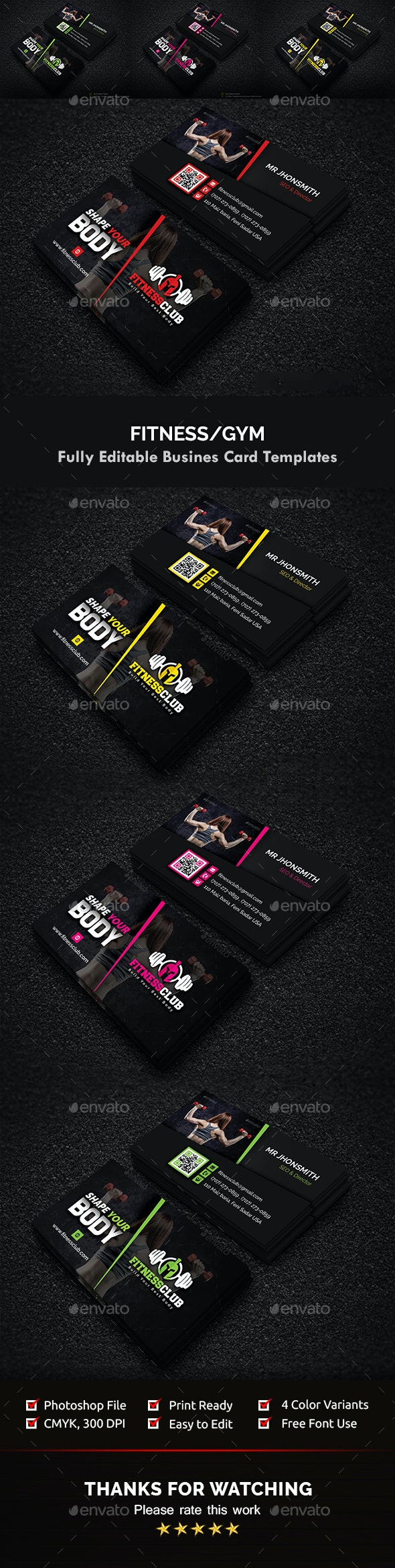 Fitness / Gym Business Card Template - Creative Business Cards