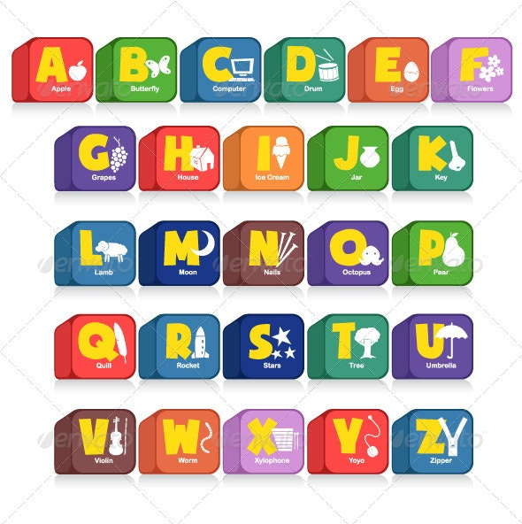Alphabet Cubes - Man-made Objects Objects