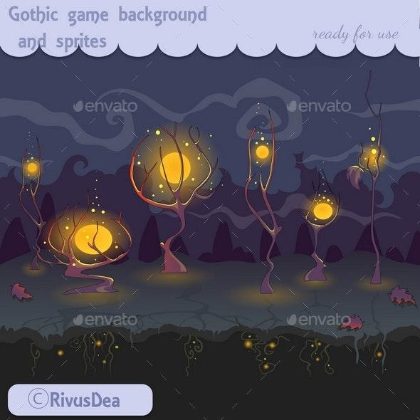 Gothic Dark Cartoon Background - Backgrounds Game Assets