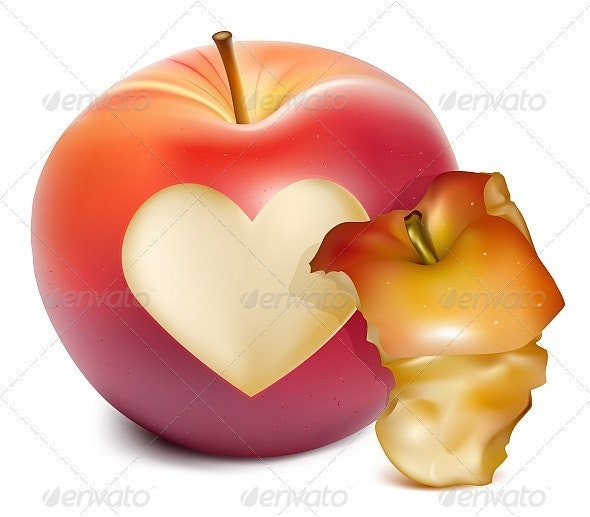 Red Apple With a Heart Symbol and Apple Core - Food Objects
