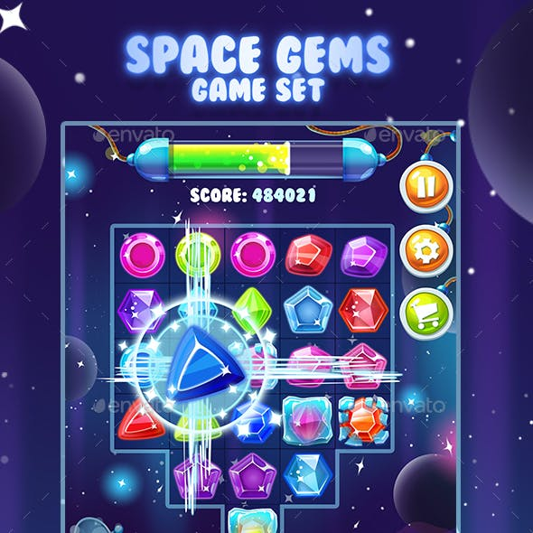 Space Gems Game Asset