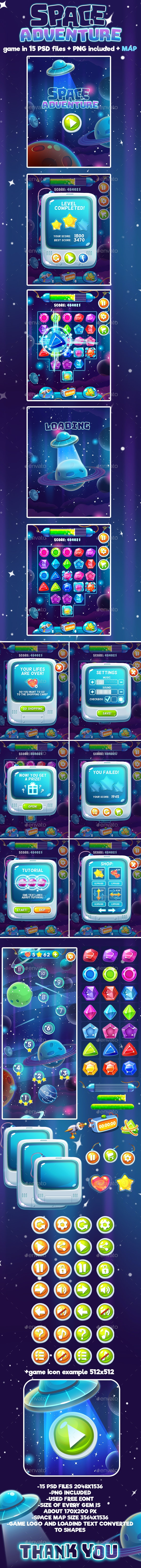 Space Adventure Full Game Set - User Interfaces Game Assets