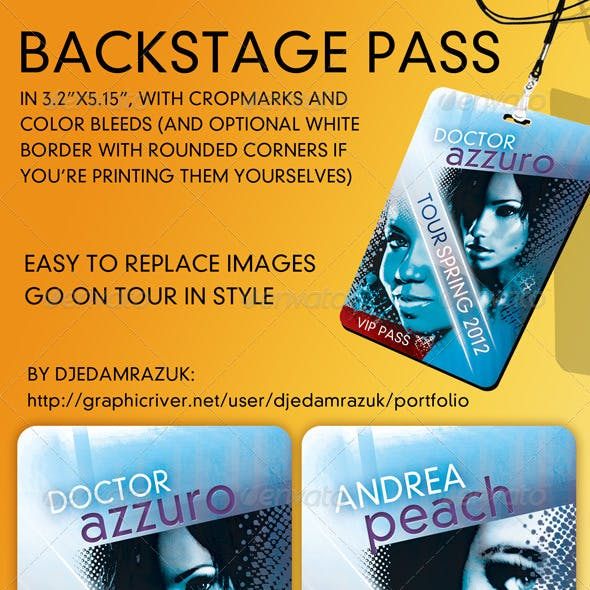 Backstage - VIP - Pass Template