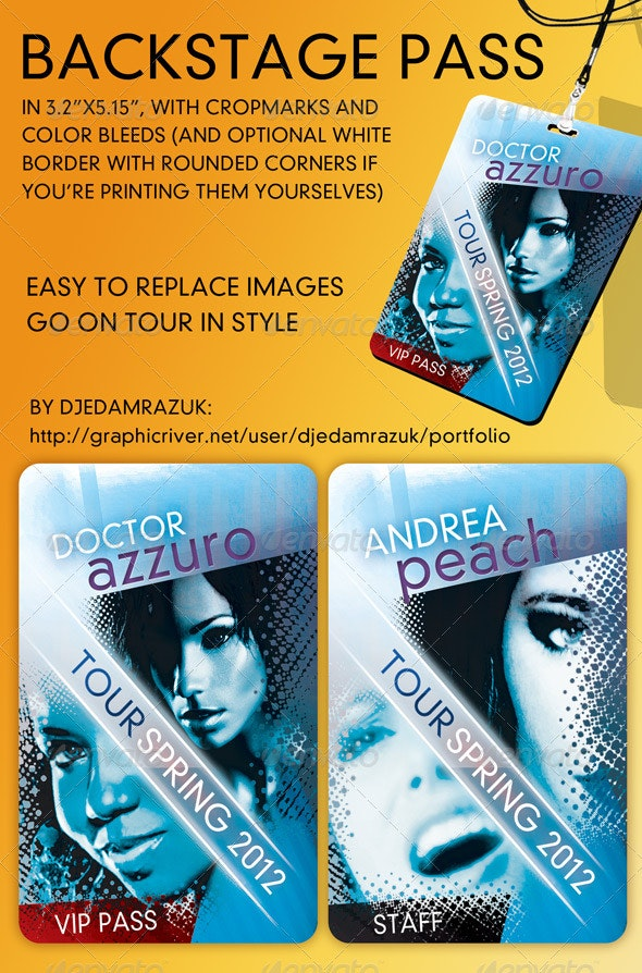 Backstage - VIP - Pass Template  - Miscellaneous Print Templates
