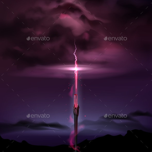 Witchcraft Magic Wand - Backgrounds Decorative