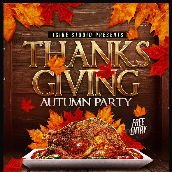 Thanksgiving Autumn Party Flyer Template