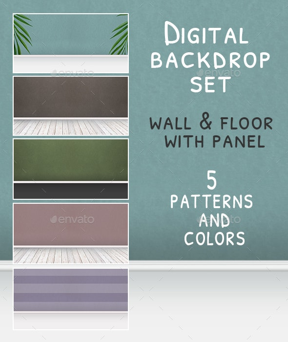 5 Wall and Floor Background Set - Backgrounds Graphics