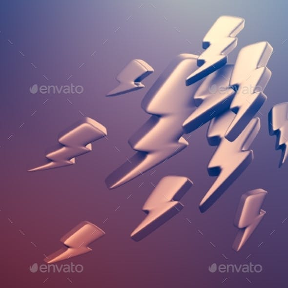 Illustration of Lightning Symbols. 3D Rendering