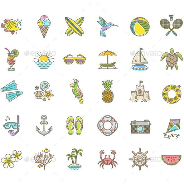 Summer Vacation Icons Set