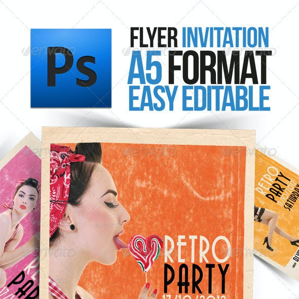 Party Retro Pin-Up Flyer A5 Format