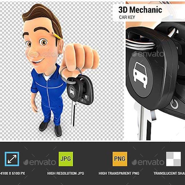 3D Mechanic Holding Car Key