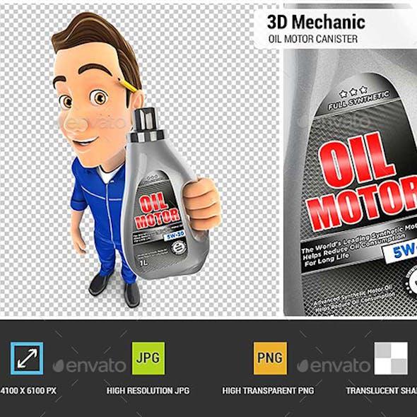 3D Mechanic Holding Oil Motor Canister