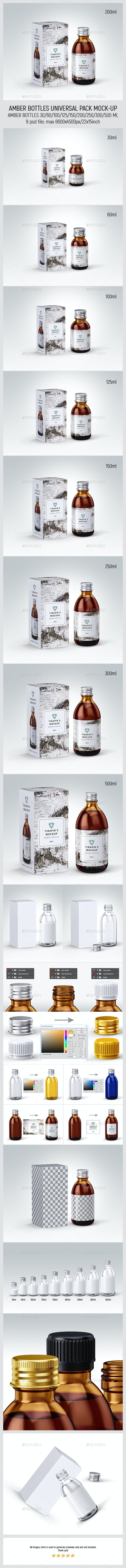 Amber Bottles Universal Pack Mock-up - Miscellaneous Packaging