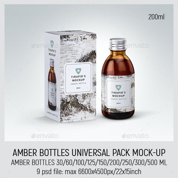 Amber Bottles Universal Pack Mock-up