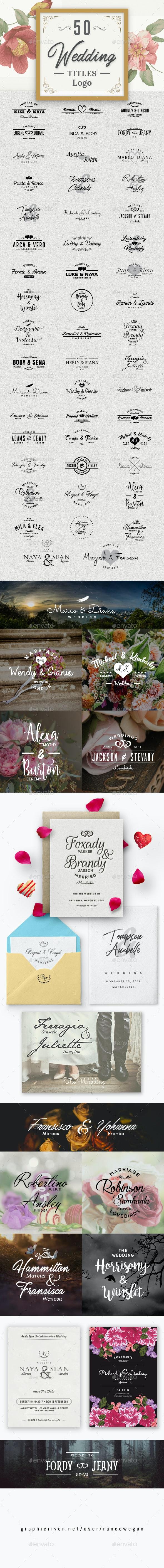50 Wedding Titles Logo - Badges & Stickers Web Elements