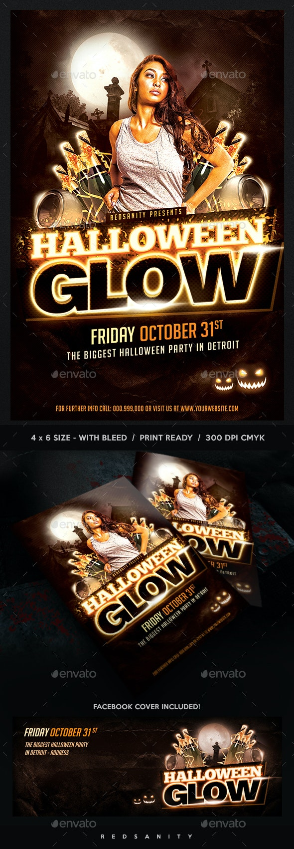Halloween Glow Flyer Plus FB Cover - Events Flyers