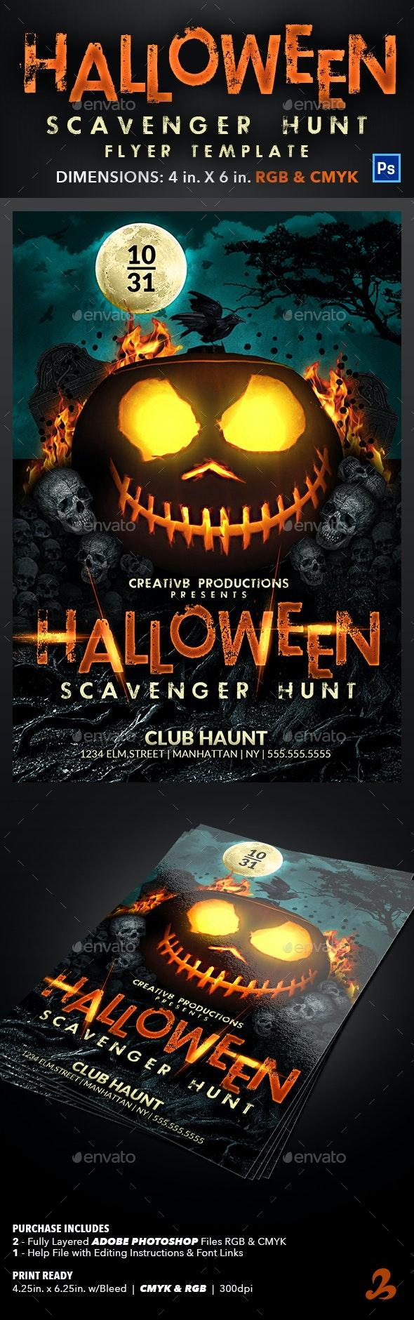 Halloween Scavenger Hunt Flyer Template - Events Flyers