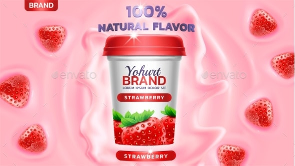 Strawberry Flavor Yogurt Ad - Food Objects