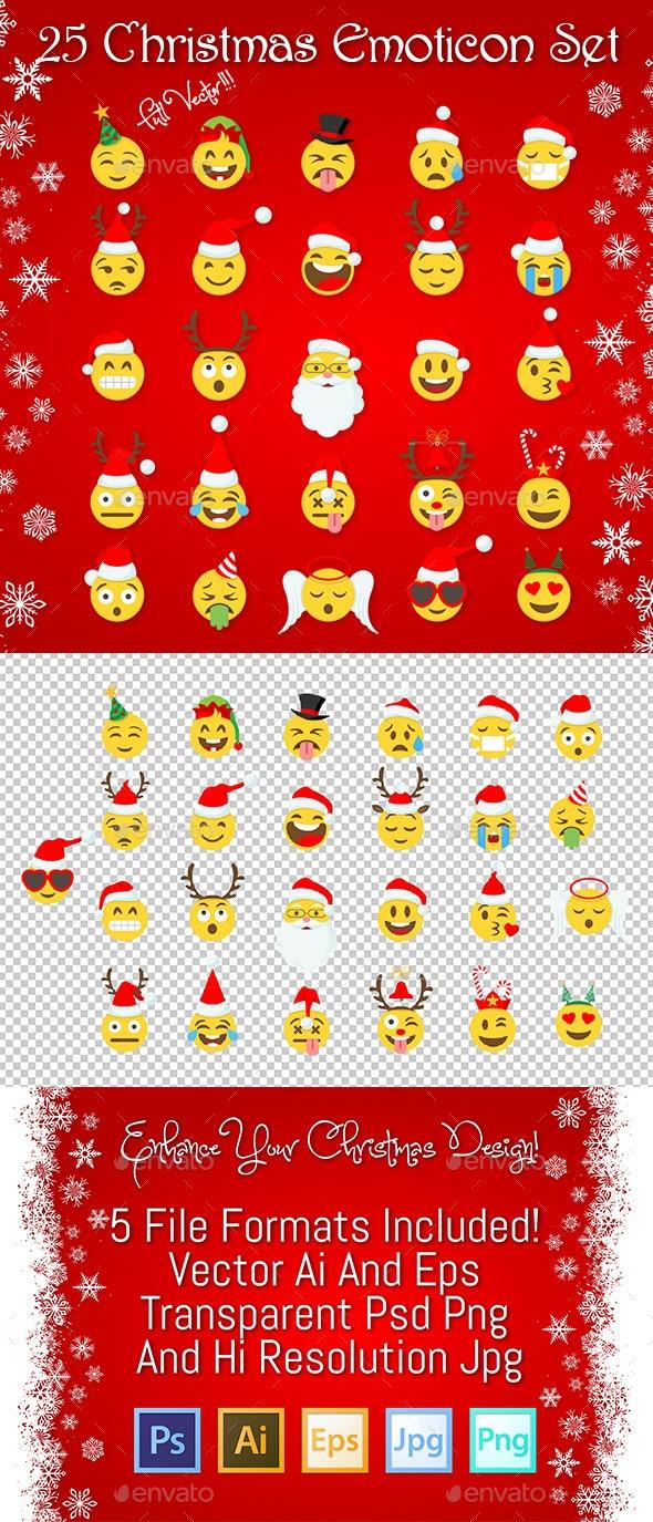 25 Christmas Emoticon Set - Christmas Seasons/Holidays