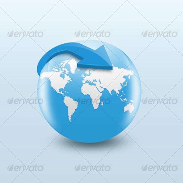 Blue Glossy Globe Internet Icon