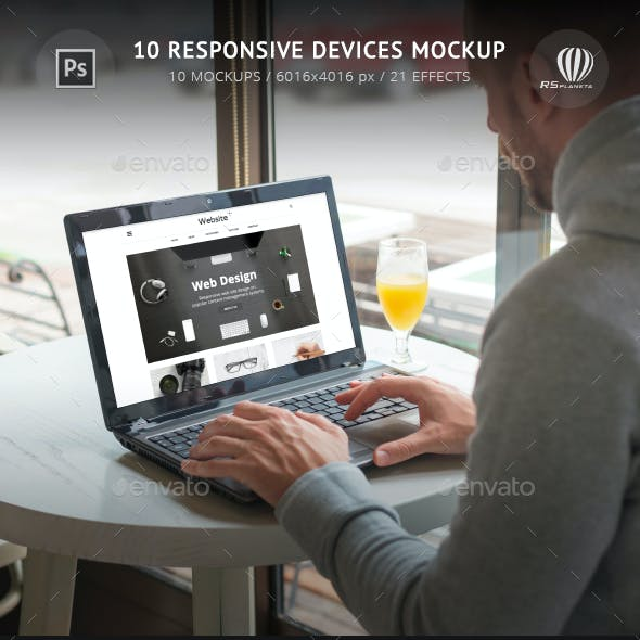 10 Responsive Devices Mockup