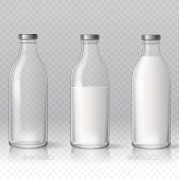 Transparent Glass Milk Bottles. Dairy Products.