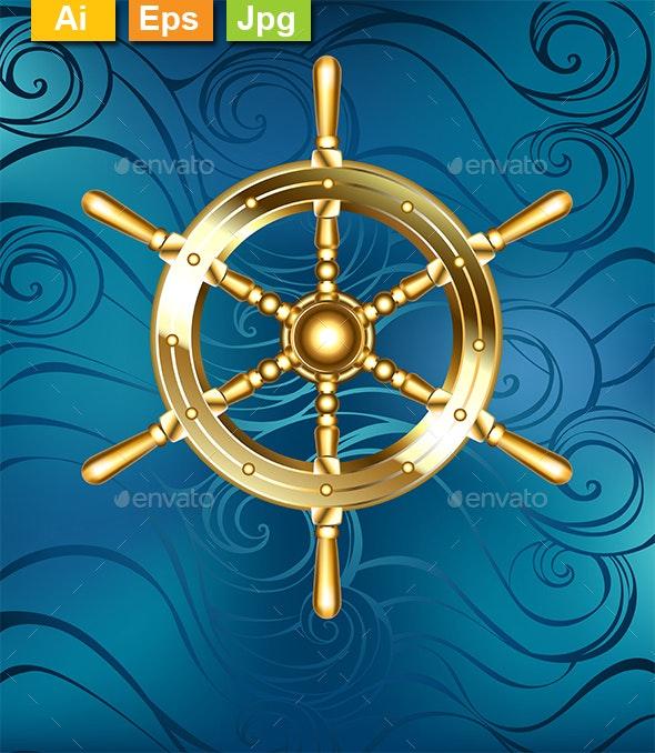 Golden Ship Wheel - Decorative Symbols Decorative