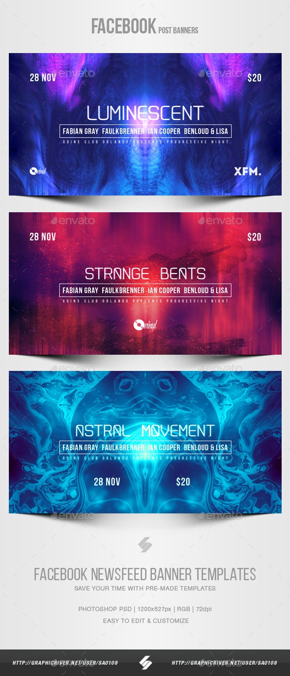Electronic Music Party vol.34 - Facebook Post Banner Templates - Social Media Web Elements