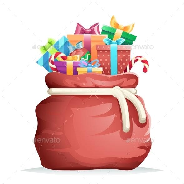 Bag Full of Christmas Gifts - Christmas Seasons/Holidays