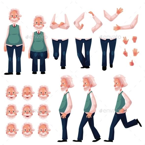 Cartoon Senior Man Character Creation Set - People Characters