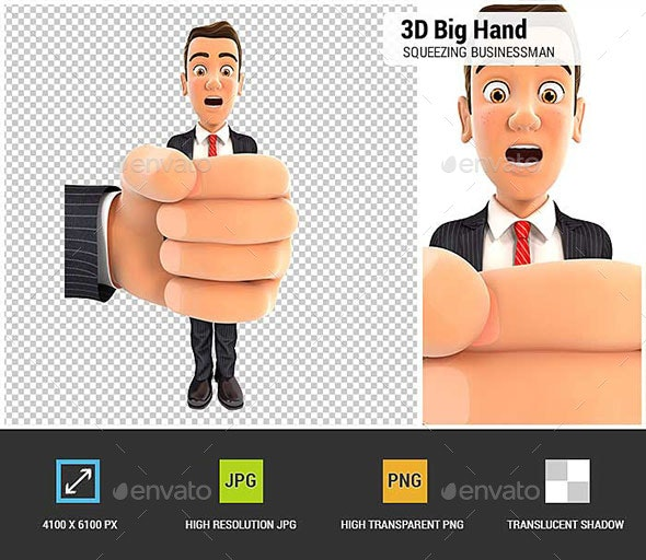 3D Big Hand Squeezing Businessman - Characters 3D Renders