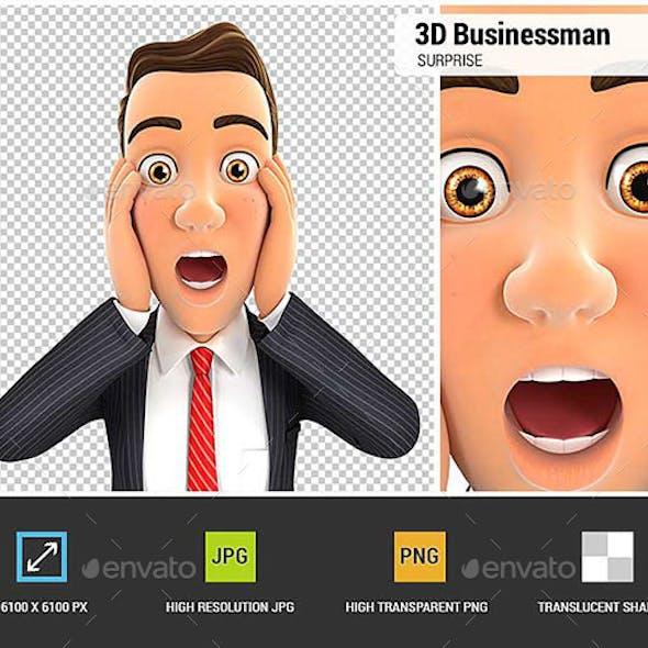 3D Businessman Surprise Expression