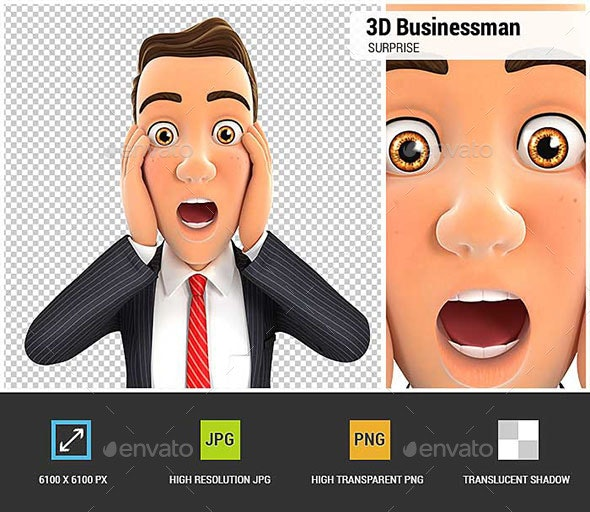 3D Businessman Surprise Expression - Characters 3D Renders