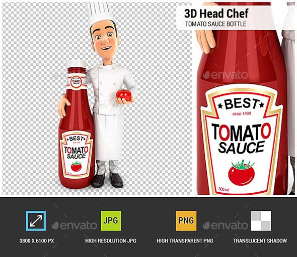 3D Head Chef standing Next to Tomato Sauce Bottle - Characters 3D Renders