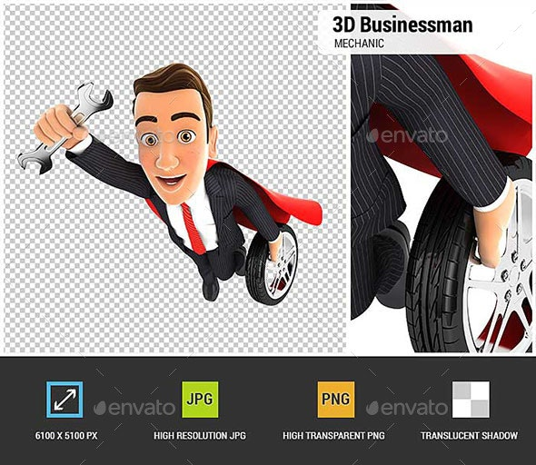 3D Mechanic Superhero - Characters 3D Renders