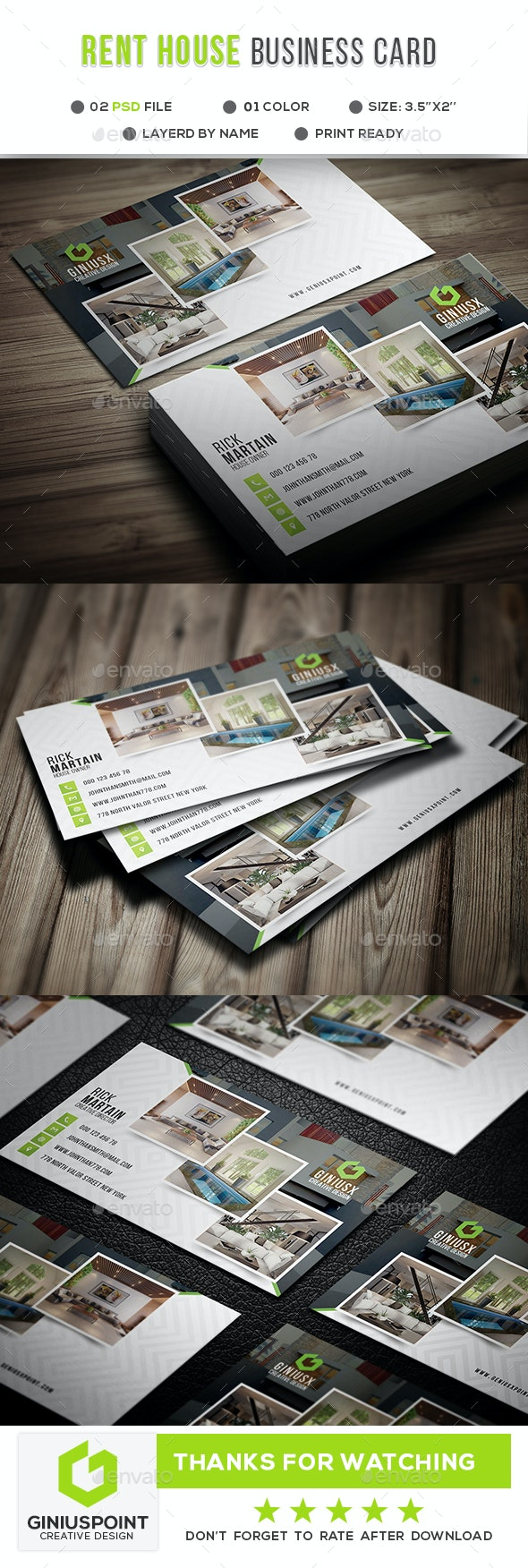 Rent House Business Card - Corporate Business Cards