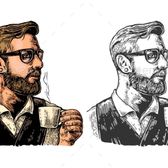 Hipster Barista with the Beard Holding a Cup