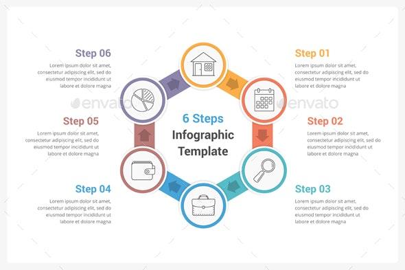 Circle Infographics with Six Steps - Infographics