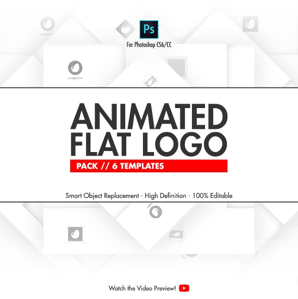 Animated Flat Logo Pack - 6 Photoshop Templates - Photoshop Add-ons