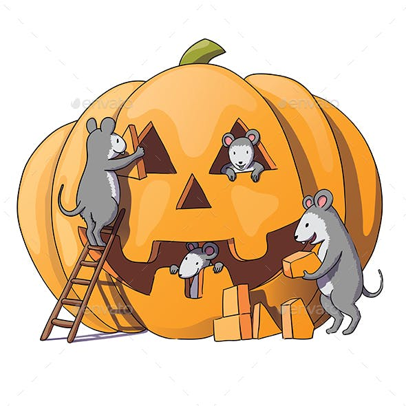 Mice Characters Prepare for Halloween
