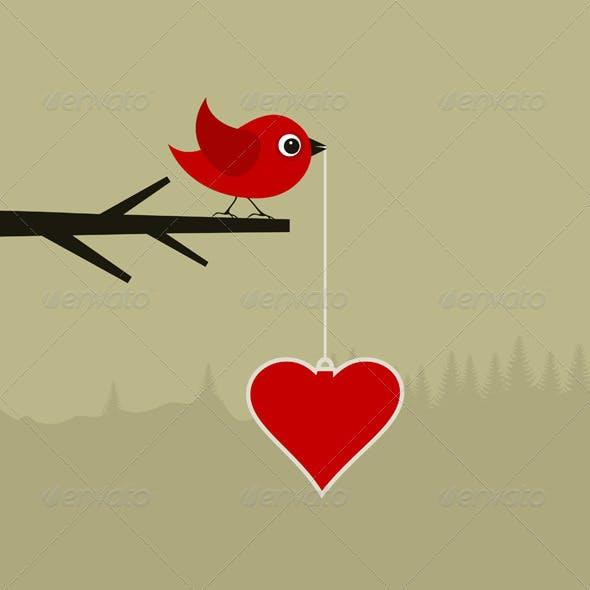 Birdie with heart
