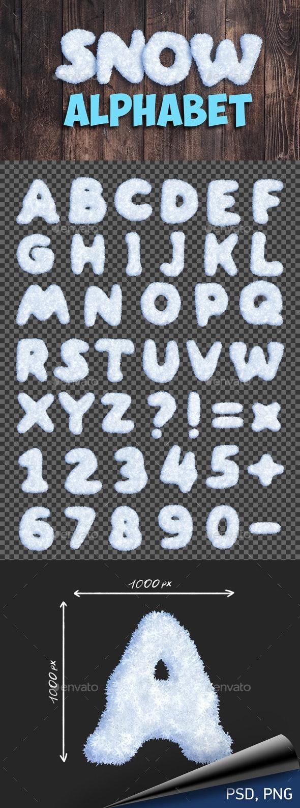 Snow Alphabet - Text 3D Renders