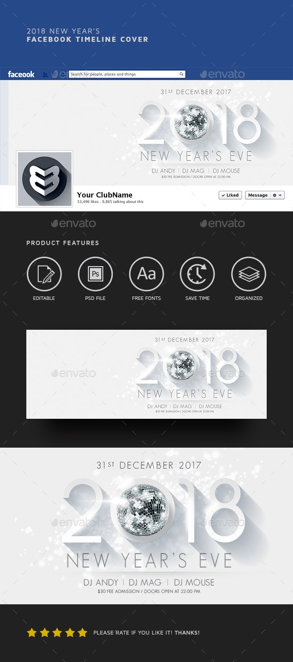 2018 New Year's Facebook Timeline - Facebook Timeline Covers Social Media