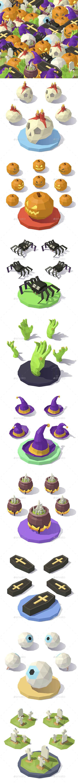Vector Isometric Low Poly Halloween Decorations - Halloween Seasons/Holidays