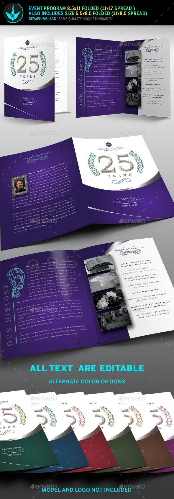 Regal Lavender plus Silver Church Anniversary Program Template - Informational Brochures