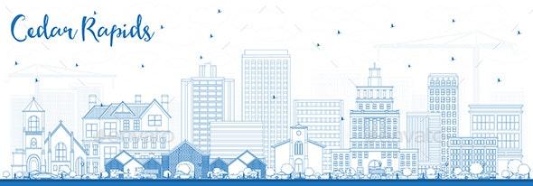 Outline Cedar Rapids Iowa Skyline with Blue Buildings - Buildings Objects