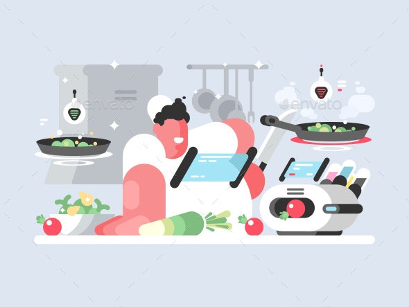 Cook in White Cap Prepares Delicious Dish - People Characters