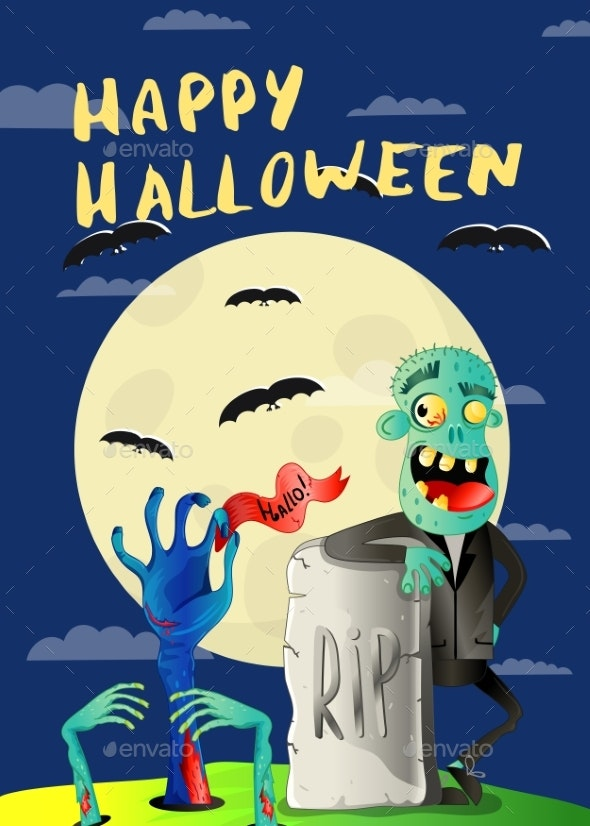 Happy Halloween Poster with Zombie in Cemetery - Halloween Seasons/Holidays