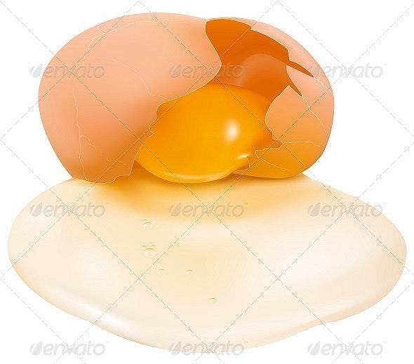 Row Broken Egg - Food Objects
