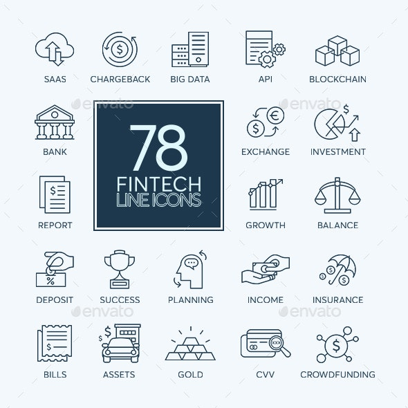 78 Fintech Icons - Icons